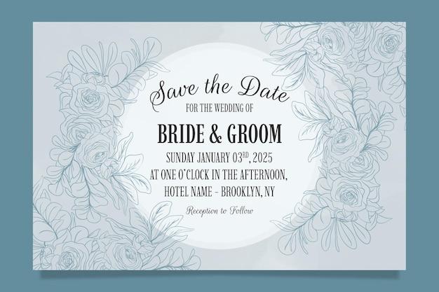 Linea arte floreale foglie modello invito a nozze con decorazione cornice acquerello astratto