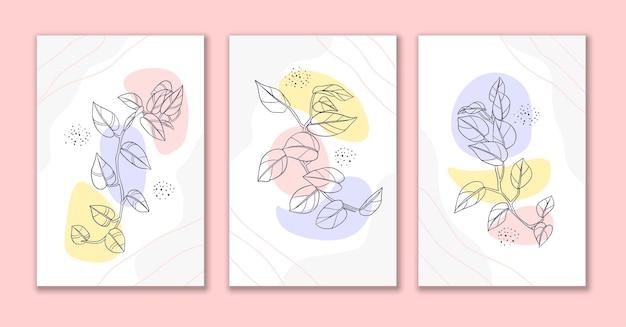 Line art fiori e foglie poster design a