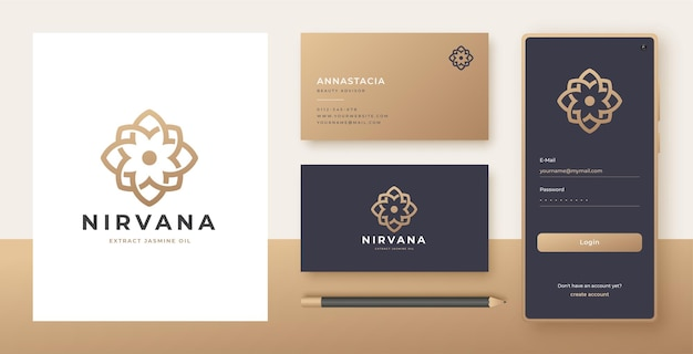 Line art fiore logo e biglietto da visita design