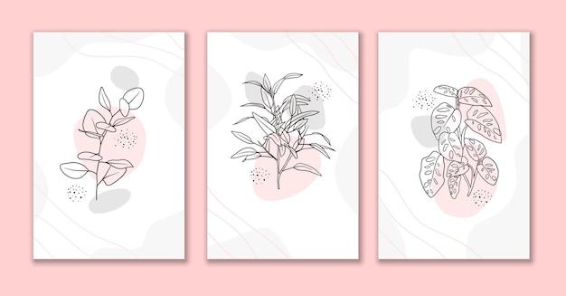 Line art fiori e foglie sfondo astratto impostato d