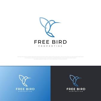 Line art fly bird logo design