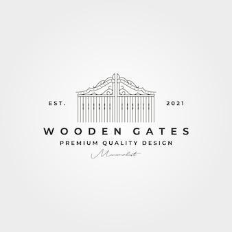 Line art gate logo vintage simbolo vettoriale illustrazione minimalista design