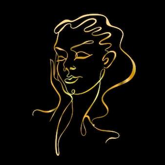 Linea artistica. il viso della ragazza è disegnato con una linea. logo di cosmetologia. salone di bellezza.oro su fondo nero. vettore.