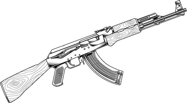 Pistole line art ak 47