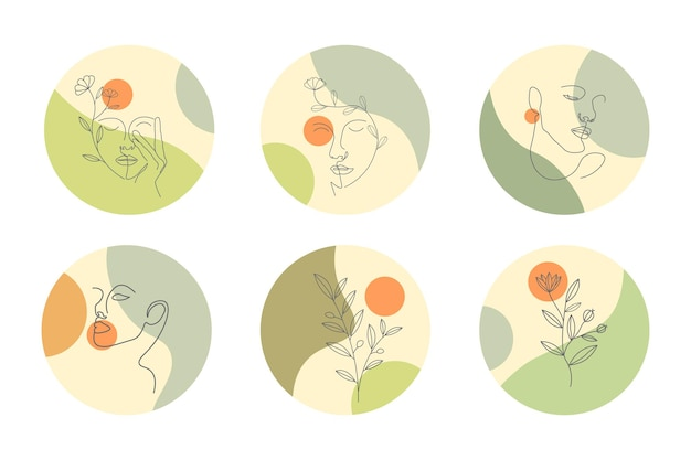 Line art disegnata a mano storia di copertina instagram