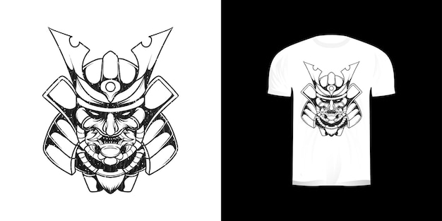 Linea arte testa samurai illustrazione per il design della maglietta