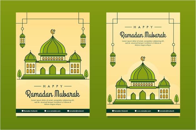 Line art illustrato modello di progettazione di sfondo di ramadan mubarak flayer