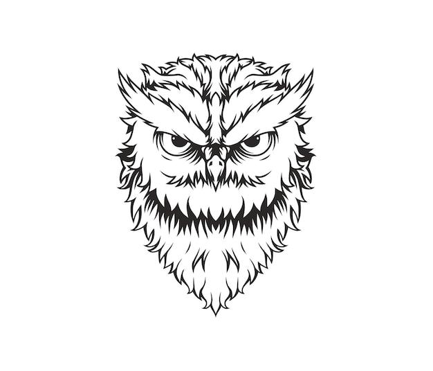 Line art illustrazione del gufo aggressivo