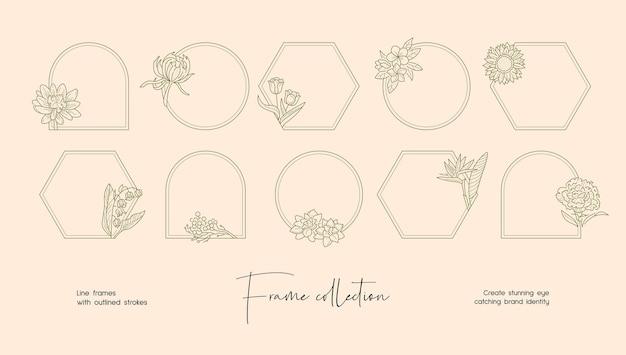 Collezione di illustrazioni di line art di cornici vettoriali decorative per il marchio o il logo