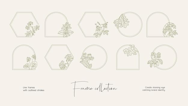 Collezione di illustrazioni di line art di cornici vettoriali decorative per branding o logo