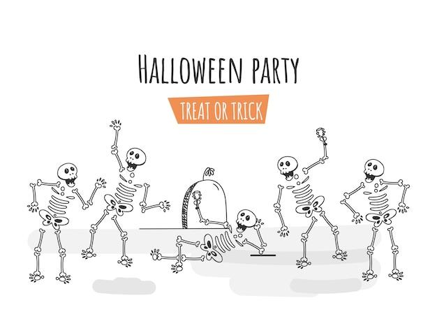 Illustrazione di arte di linea di scheletri umani che ballano o godono