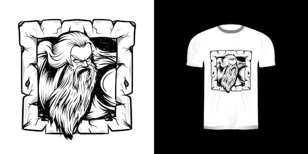 Linea arte illustrazione vecchio per il design della maglietta