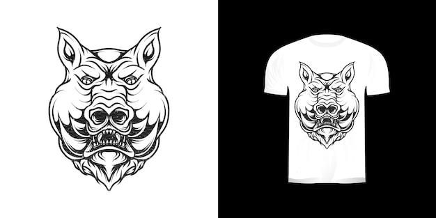 Linea arte illustrazione maiale per il design della maglietta