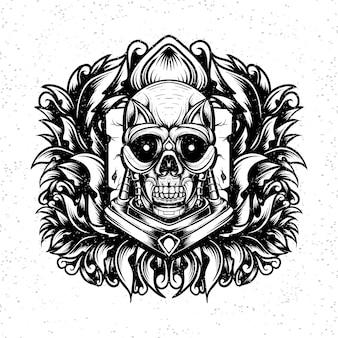 Linea arte illustrazione teschio