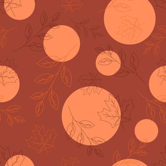 Line art lascia seamless pattern per evento autunnale