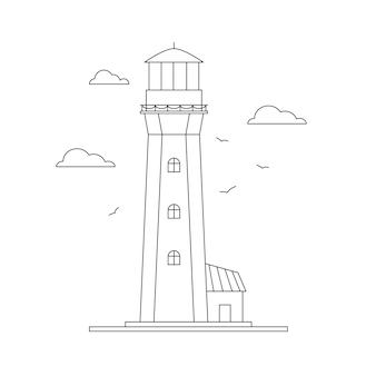 Line art costruzione del faro torre del faro faro marino e tema dell'oceano mare