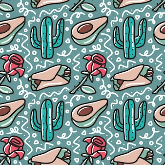 Linea arte del modello di disegno a mano vacanza messicana