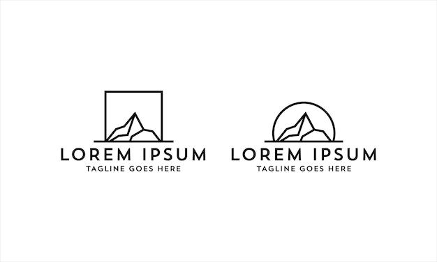 Line art mountain logo design semplice