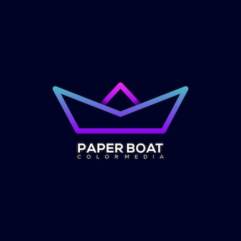 Modello di logo sfumato colorato moderno di barca di carta di linea arte