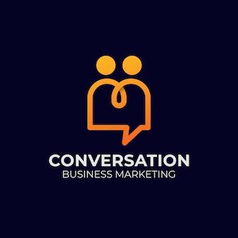 Line art persone chat, conversazione logo moderno