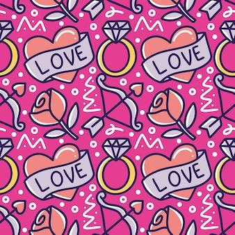 Immagine di arte di linea del disegno della mano di arte di amore