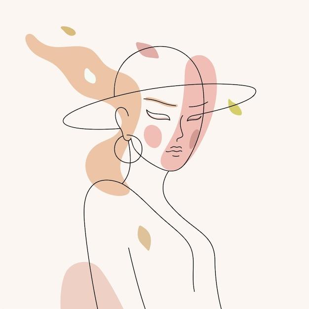 Line art ritratto di donna elegante con un cappello illustrazione vettoriale astratta di giovane bella ragazza