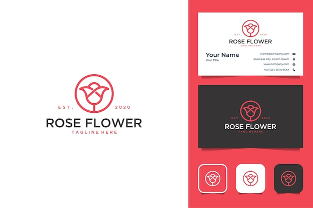 Line art rosa fiore logo design e biglietto da visita