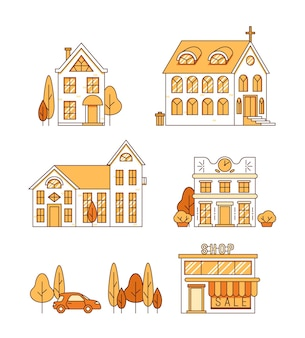 Line art set di case chiesa e negozio paesaggio urbano concetto vettoriale