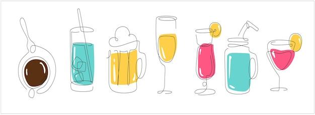 Line art set con bevande birra una linea caffè e acqua linea continua frullati e bevande