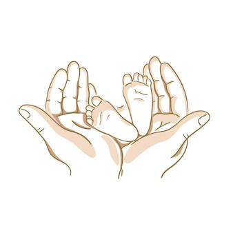 Schizzo di arte di linea dei piedi del bambino nelle mani della madre. concetto di maternità familiare felice
