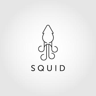 Logo calamaro line art, logo calamaro. illustrazione vettoriale di calamaro isolato