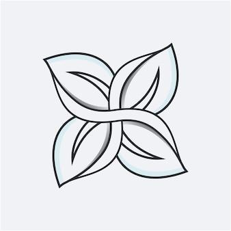 Modello di logo foglia unico line art