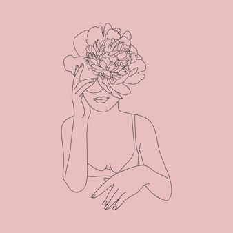 Line art volto di donna con fiori. figura femminile minimale astratta in uno stile lineare alla moda. illustrazione di moda vettoriale. arte elegante per poster, loghi, stampe di t-shirt