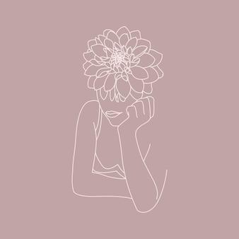 Line art volto di donna con fiori. figura femminile minimale astratta in uno stile lineare alla moda. illustrazione di moda vettoriale per poster, tatuaggi, loghi, stampe di t-shirt