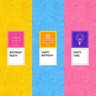 Set di modelli di compleanno di linea. illustrazione vettoriale di logo design. modello per imballaggio con etichette.