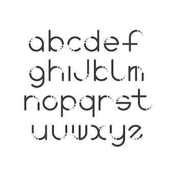 Carattere latino linea e cerchio, tipo decorativo grafico.