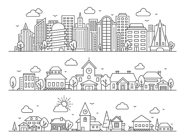 Linea città, paese e villaggio. panorami paesaggistici con grattacieli, cottage e case di campagna. concetto di vettore di strade urbane e rurali. linea edilizia urbana, architettura della casa