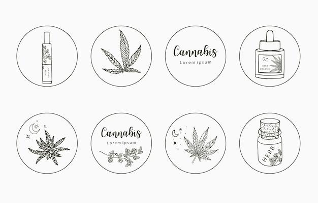 Collezione di clipart di linea con mano, cannabis, bottiglia, contagocce, stella, cerchio