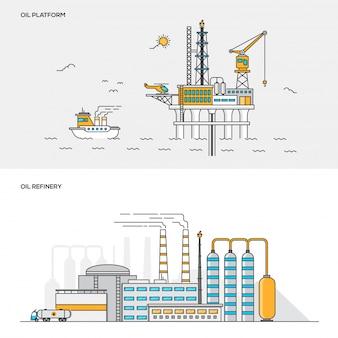 Linea concetto di colore - piattaforma petrolifera e raffineria