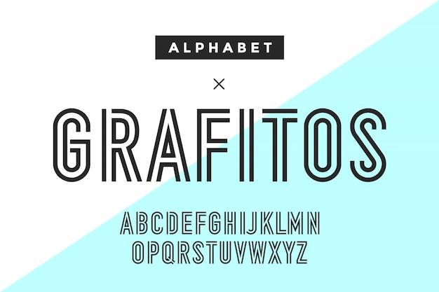 Carattere e alfabeto condensato di linea