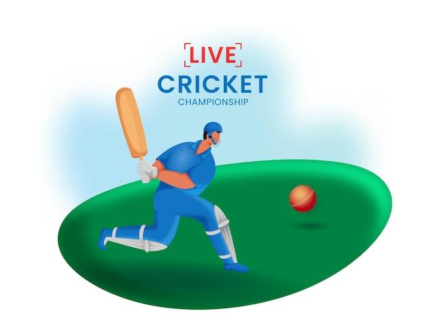 Concetto di campionato di cricket di linea con battitore del fumetto nella posa di gioco.
