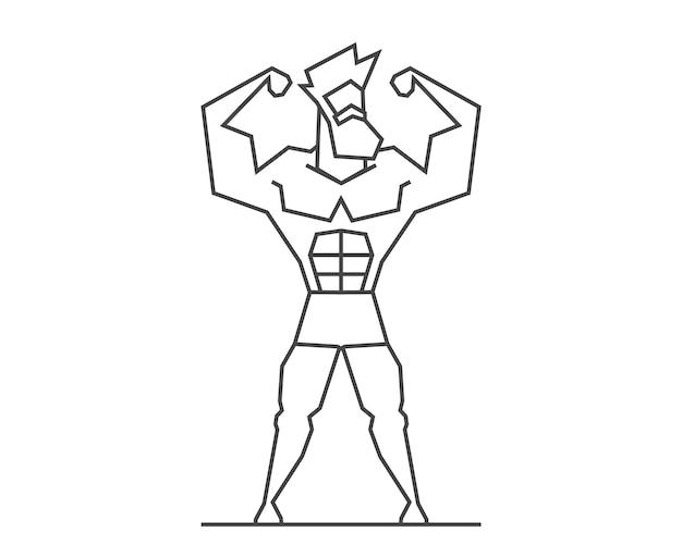 Linea design logo uomo muscoloso per crossfit, palestra, bodybuilding o fitness. illustrazione vettoriale di sportivo.