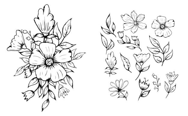 Set di decorazioni per composizioni di bouquet di fiori di disegno a tratteggio