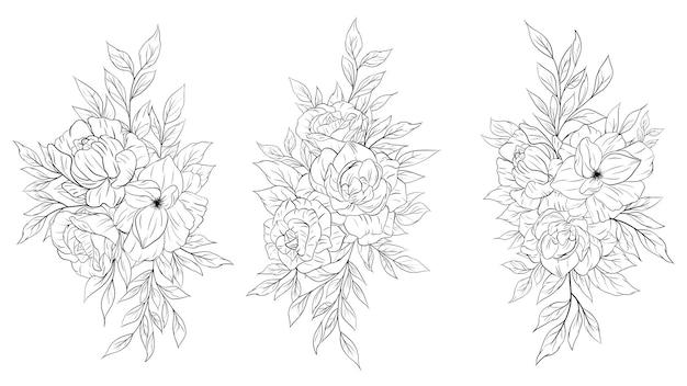 Set di decorazioni per bouquet di fiori con disegno a tratteggio