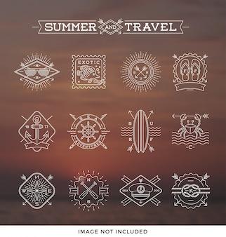 Illustrazione del disegno a tratteggio - segni ed etichette degli emblemi di vacanze estive, di feste e di viaggio
