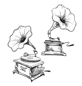Grammofoni vintage linea disegnata, disegno vettoriale