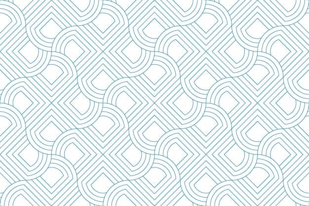 Linea linea blu senza cuciture del modello astratto geometrico su fondo bianco.
