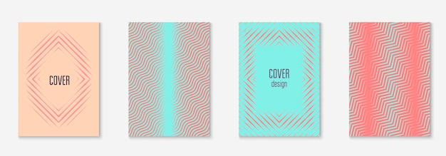 Elementi geometrici di linea. app web colorata, schermo mobile, presentazione, modello di relazione annuale. rosa e turchese. elementi geometrici di linea sul modello di copertina alla moda minimalista.