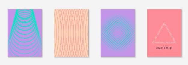 Elementi geometrici di linea. report futuristico, presentazione, cartella, modello di certificato. rosa e viola. elementi geometrici di linea sul modello di copertina alla moda minimalista.