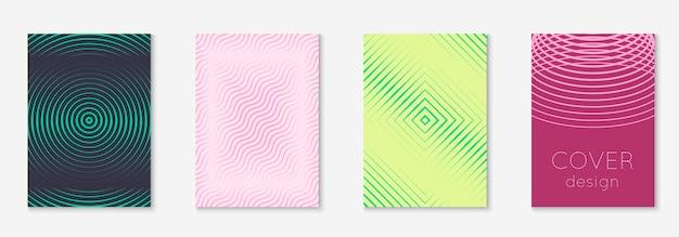 Elementi geometrici di linea. giallo e rosa. app web dinamica, relazione annuale, libro, mockup di volantini. elementi geometrici di linea sul modello di copertina alla moda minimalista.